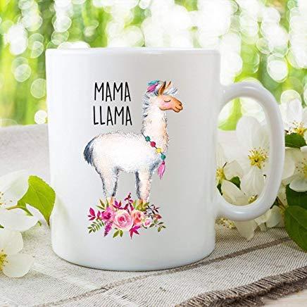 LECE Leuke Witte Pluizige Mama Llama in Ketting Koffie Mok - 11Oz Wit geschenk voor Vriend Liefhebber Moeder Zuster Man Vrouw in Kerstmis Verjaardag Vrouwendag Moederdag