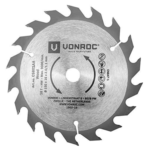 Hoja de sierra circular VONROC 150 x 16 x 2.0/1.1mm - 18 dientes - apta para madera - universal
