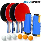 Joy.J Sport Raquette de Ping Pong – 4 Raquette de Tennis de Table + Rétractable Filet de Table Tennis + 6 Balle, Trousse...