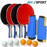 Joy.J Sport Table Tennis Bat Set - 4 Ping Pong Rackets - 6