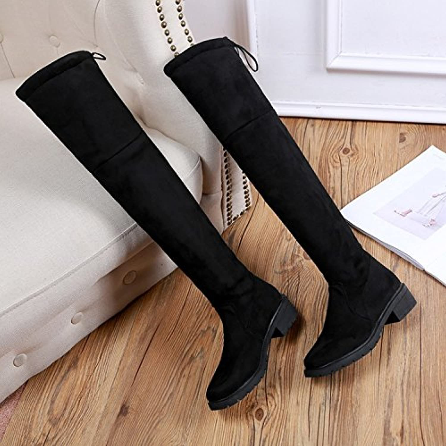 WYMBS Women's Over The Knee Elastic Boots Keep Warm Rongli Comfortable with The Side Round Head shoes,Black,36