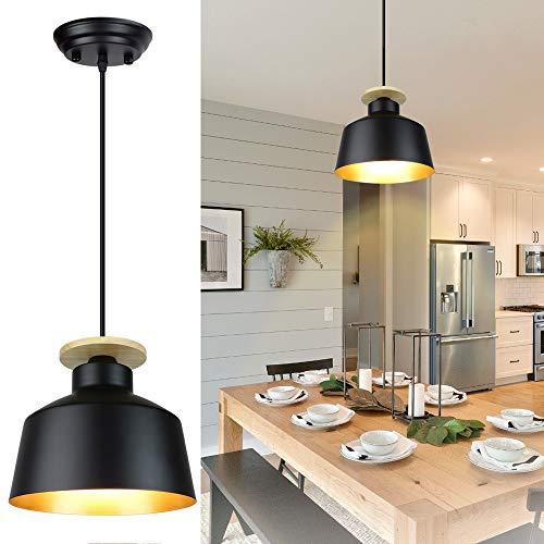 Depuley LED Pendelleuchte Schwarz-Gold, Hängelampe Vintage, Hängeleuchte aus Metall im Retro Design, Deckenlampe für max.60W, Minimalistische Kronleuchter für Küchen, Wohnzimmer, Schlafzimmer, Studio