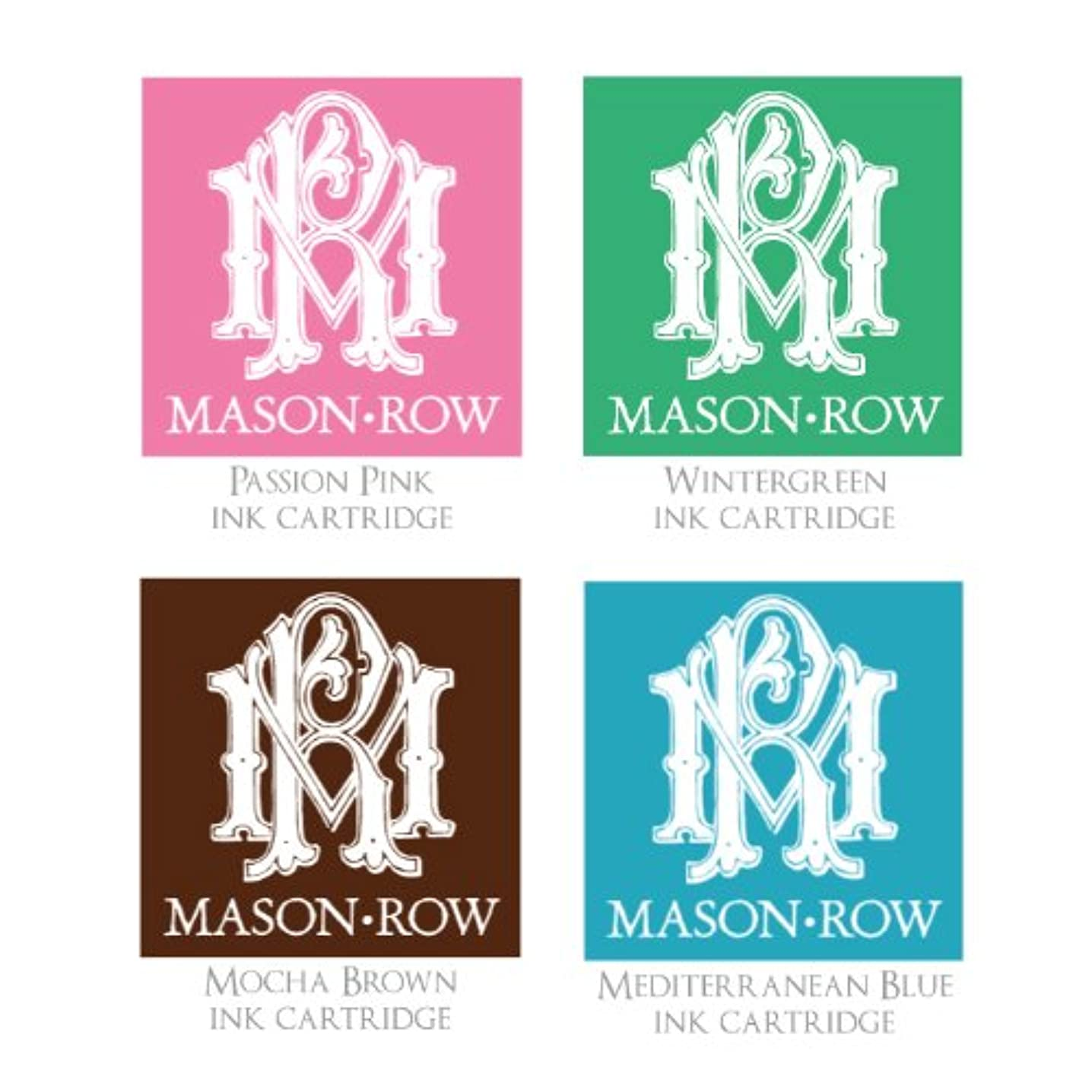 Mason Row SU-37505 Ink Pad Assortment, Blue, Brown, Pink and Green, 4-Pack