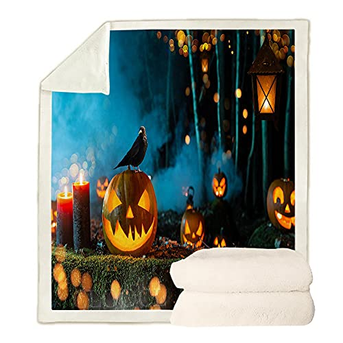 Manta para Sofá de Lana Calabaza de Halloween de Dibujos Animados Azul Marrón Negro Sherpa Manta Polar 100% Microfibra Extra Suave, Manta de sofá, de Cama o de Sala de Estar 135x150 cm