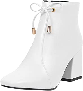 Fashion Women High Heels Bow Square Heels Zipper Solid Color Short Booties Square Toe Shoes