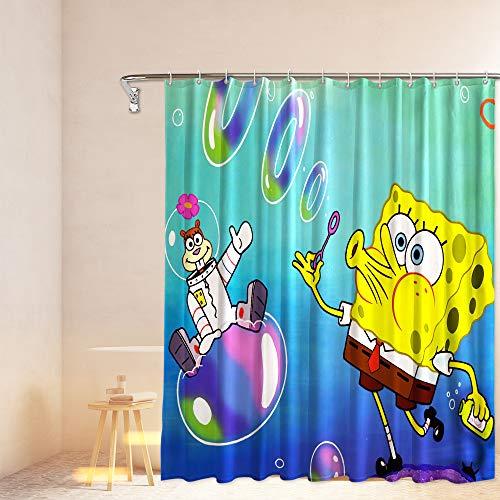 PntBab Spon_gebob Fabric Shower Curtain Set with 12 Hooks for Boys Bathroom, 72''