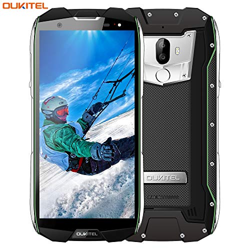 OUKITEL WP5000 - Smartphone impermeabile da 5,7 pollici, 4 G, Dual SIM, IP68, resistente agli urti, antipolvere, batteria da 5200 mAh, 64 GB ROM, 3 telecamere, colore: Verde