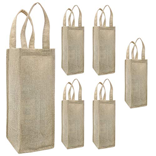Shintop Weinbeutel, 6 Stück Geschenktüten für Weinflaschenhandle mit Griff für Hochzeits Geburtstagsfeier Festival Geschenk Bevorzugungen (Braun)