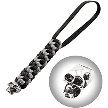 Grand Way Paracord Knife Lanyard with Skull Bead - Zipper Pull Helix Lanyard