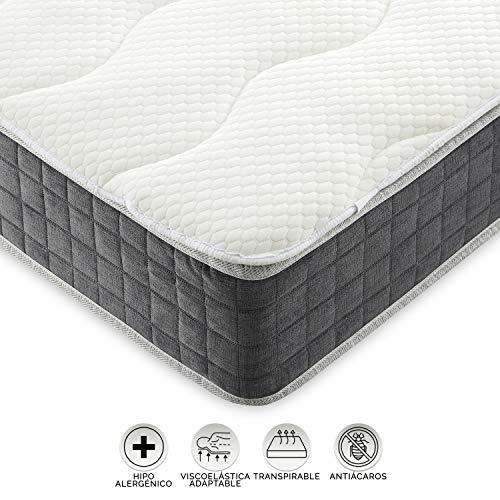 Eiffel textiel topper voor bed, viscose, wit, 200 x 20 x 150 cm