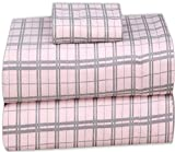 Ruvanti 100% Cotton 3 Pcs Flannel Sheets Twin Pink & Grey Plaid - Deep Pocket, Warm, Super Soft & Breathable Twin Size Flannel Kids Bedding Sheets Set Include Flat Sheet, Fitted Sheet 1 Pillow Case
