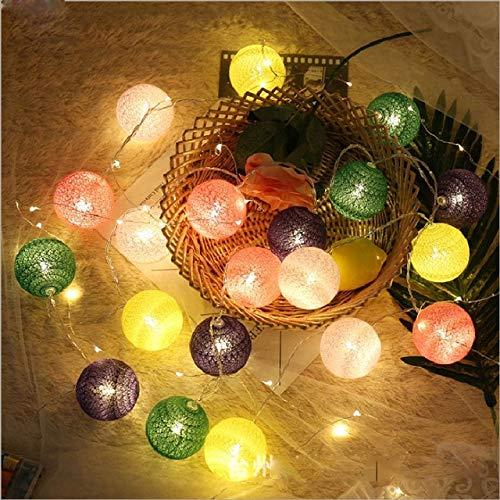 20 Bola de algodón 2.2M Cadena Luces de Noche de Hadas USB Bombilla LED Dormitorio Navidad Fiesta de Vacaciones al Aire Libre Decoración de Luces de Cama de bebé - Verde