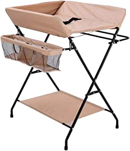 MY1MEY Folding Diaper Table Changing Dresser Nursing Station Nursery Organizer  Waterproof Support Plate Khaki