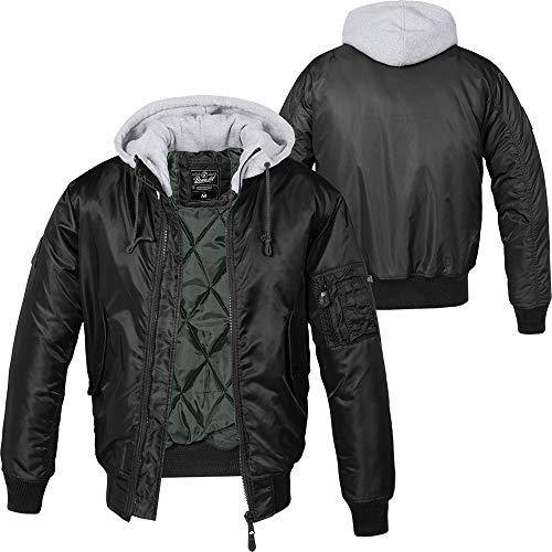 Brandit MA1 Sweathood Bomberjacke, schwarz mit Grauer Kapuze, Größe M