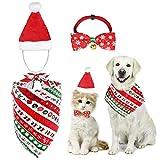 MELLIEX 3 Piezas Disfraces Navidad para Gatos Perros con Collares de Pajarita Sombrero de Navidad Pañuelos Accesorios Ropa de Mascotas para Gatos Perros