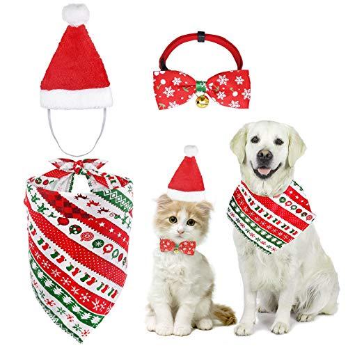 MELLIEX Costume di Natale per Animali Domestici, 3 Pezzi Bandana di Natale Campana Cravatta a Farfalla Cappello da Babbo Natale per Gatti Cani Animali Domestici Accessori per Costumi Natale