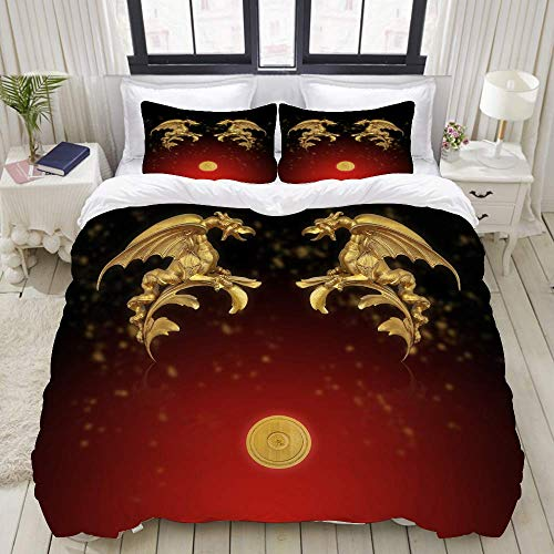 Nonun Duvet Cover,Layout of Poster with Gold Decorative Dragons Isolated on Black Background,Bedding Set Ultra Comfy Lightweight Luxury Polyster Quilt Cover Sets (3pcs)