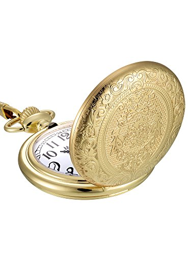 Mudder Vintage Stainless Steel Quartz Pocket Watch Chain (Gold)
