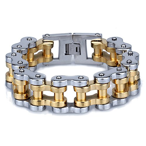 yorwell para hombre pulsera acero inoxidable dorado Pulsera para moto pulsera de oro para hombre con caja de regalo