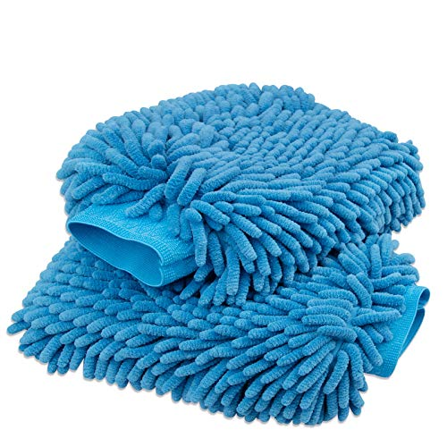 anngrowy Car Wash Mitt 2 Pack - Large Size Microfiber Wash Mitt Car Cleaning Mitts Premium Chenille Car Washing Gloves Winter Waterproof Car Wash Rag Sponge Kit with Lint Free & Scratch Free