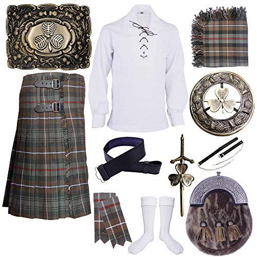 Verwittertes Mackenzie Tartan Kilt Set Outfit 10 Stück Irish Shamrock Sporran Pin Brosche Gr. 76 cm, Weathered Mackenzie Tartan
