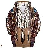 Sudadera unisex Indian Bohemian Style Style Pullover Sudadera con capucha Sudadera con capucha Hombres Mujeres Moda Casual sudadera con capucha con grandes bolsillos (Color : 4, Size : 3XL)