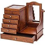 WYBFZTT-188 Jewelry Box - Exhibición de Almacenamiento Booth Organizer Multifuncional Retro Espejo de Escritorio en Madera Maciza for cajones de Damas