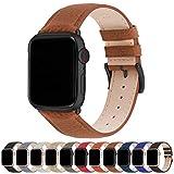Correa para Apple Watch, Fullmosa Correa de Cuero Compatible con 38 mm 42 mm 40 mm 44 mm, Apple Watch Band para iWatch Series SE/6/5/4/3/2/1, Marrón + hebilla de Negro ,42mm/44mm