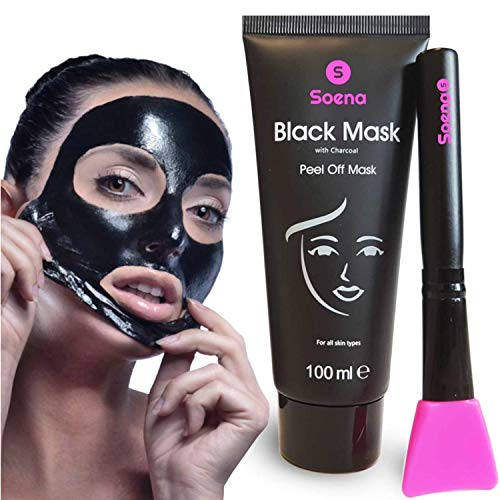 Das ORIGINAL - SOENA® Black Mask + MASKENPINSEL | XXL Tube 100 ml | Entfernt Mitesser – Peel-Off Maske - Gegen unreine Haut | Mit Aktivkohle | Schwarze Maske zum abziehen - Blackhead Maske