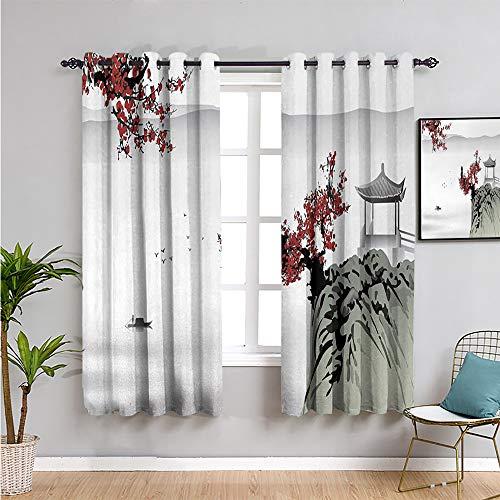 Pcglvie n Linda cortina, cortinas de 99 cm de largo y paisajes de río con flores de cerezo, barco, notas culturales, vista mística, artística, fácil de instalar, color gris pálido, 54 x 39 pulgadas