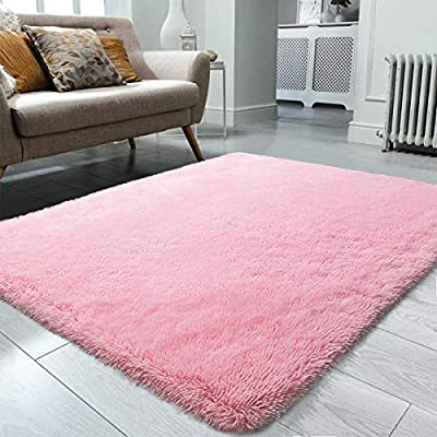 Ompaa Super Soft Fluffy Area Rugs for Bedroom, 5 x 8 Feet Pink Shag Rug Faux Fur Non-Slip Floor Carpet for Girls Room, Living Room, Nursery, Baby Room - Modern Home Accent Decor