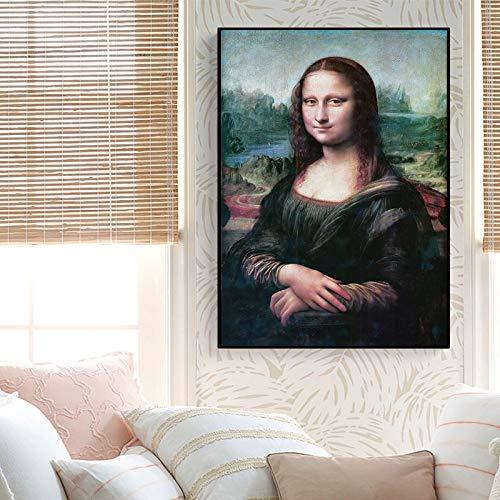 Mengyun Store Stampa su Tela Poster Mona Lisa Arte Murale Pittura Ad Olio Foto Decorazioni per La Casa da Vinci Stampa Famosa per Soggiorno Senza Corn