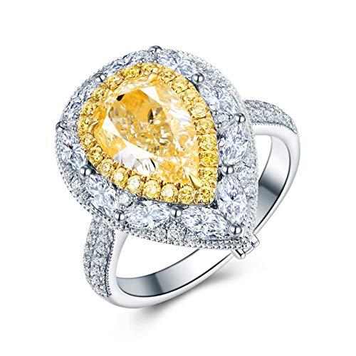 KnSam 18K Oro Blanco Anillo, Anillo de Bodas Gota de Agua, Diamante Amarillo, Color Plata - Talla 26