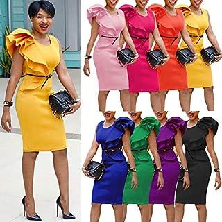 Extaum Women Pencil Dress One Shoulder Ruffle Asymmetric Sleeveless Midi Slim Solid OL Elegant One-Piece