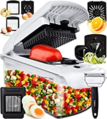 Best functionality on the market - everything you need in this multifunctional all in one kitchen gadget. 7 easy to change inserts including two different sized chopper blades and two spiralizer inserts give you the option of broad ribbons or thin sp...
