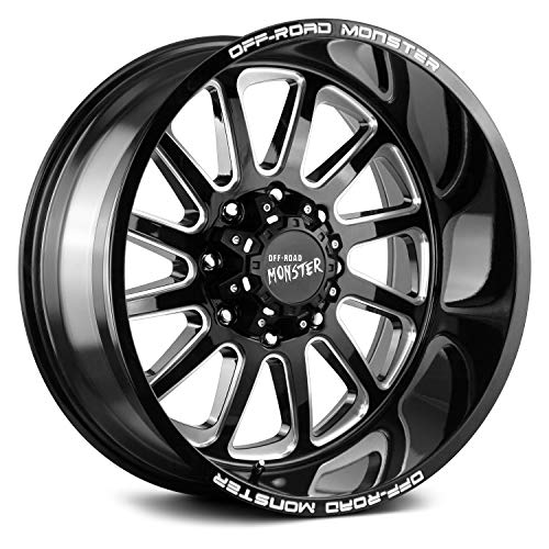 OFF-ROAD MONSTER M17 Custom Wheel - 22x12, -44 Offset, 5x127 Bolt Pattern, 78.1mm Hub - Gloss Black with Milled Accents Rim
