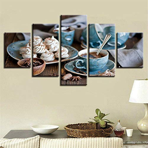 5 Piezas Cuadro sobre Lienzo De Fotos Café Taza Muffin Frijoles Alimentos Desayuno Lienzo Impresión Cuadros Decoracion Salon Grandes Cuadros para Dormitorios Modernos Mural Pared Listo para Colgar