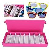 Scatola portaoggetti per occhiali da sole con 8 griglie, vetrina per occhiali multi-occhiali, scatola portaoggetti per occhiali per gioielli ben organizzata(Rosa)