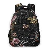 SXCVD Mochila informal,Araña de bordado, jaula de oro y rosas silvestres de patrone,Mochila para portátil de negocios,Mochila de viaje de senderismo para hombres,mujeres,adolescentes