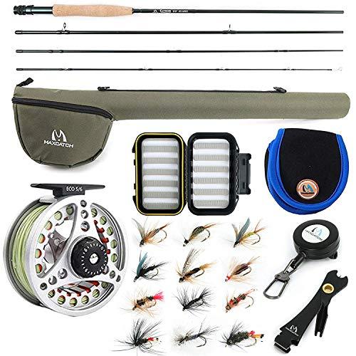Maximumcatch Extreme Fliegenfischen Combo Kit 3/5/6/8 WT Fliegenrute und Rolle Outfit(5wt -9' Half-Handgriff Rute, 5/6 Rolle mit Accessoires) (6 WT -9' Half-Handle Rod,5/6 Reel)