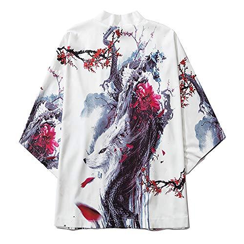 AFASSW Japonés Kimono Chaquetas Hadas Blanco Zorro Impreso 2020 Hombres Harajuku Streetwear Casual Delgado Vestido Japón Estilo Suelto Cardigan Camisón, xx-large