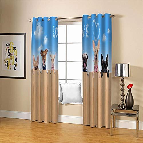 Gzclian gordijnen, ondoorzichtig, met ogen, 3D hond dier, isolerend gordijn, 2 stuks, voor kinderkamer, woonkamer, slaapkamer