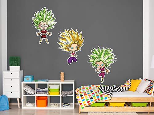 Pack de Pegatinas de Pared en Vinilo Dragon Ball Super Caulifla, Kefla y Kale | Producto Oficial | 100x60cm| Productos Originales | Vinilo Adhesivo | Decoración | DBS