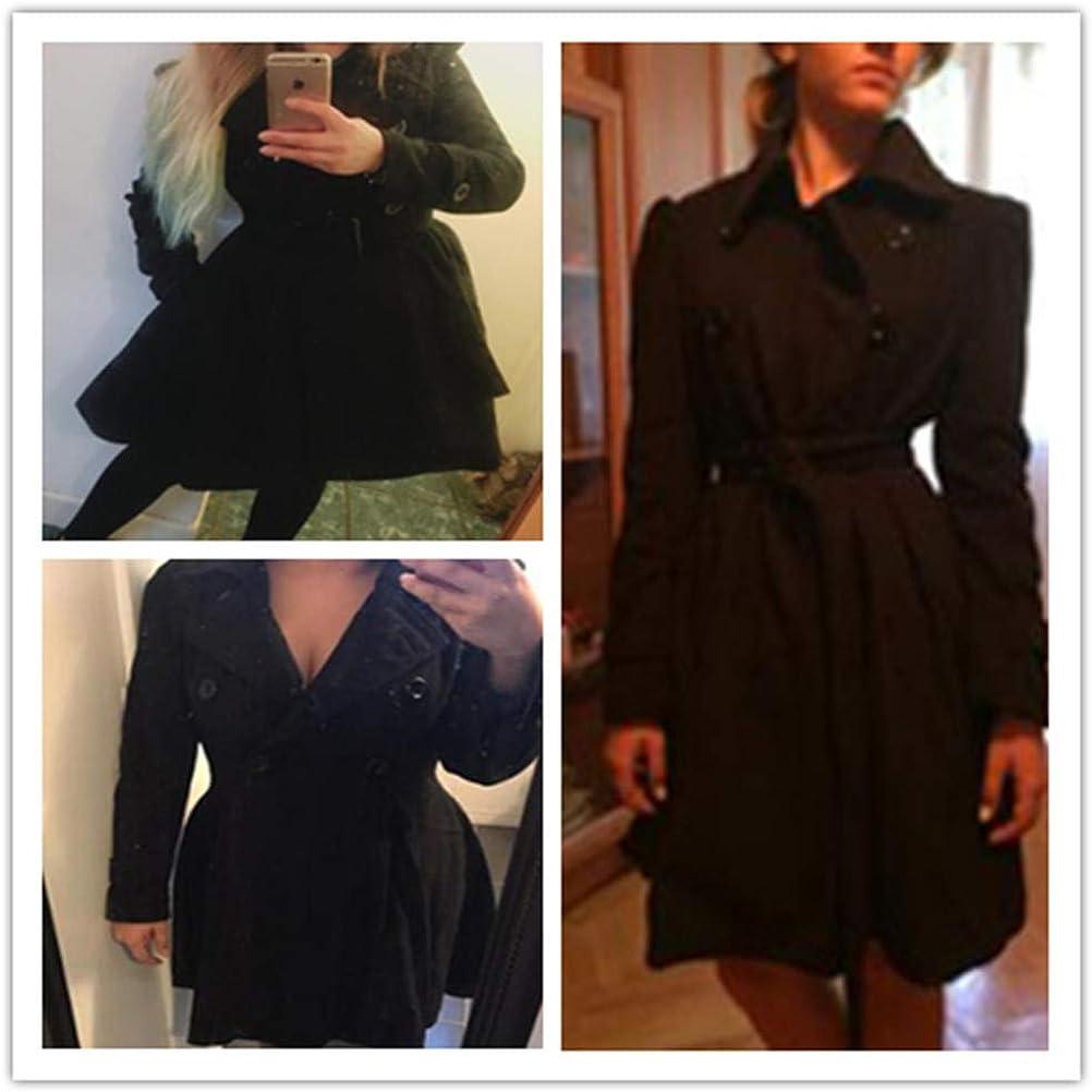 Onsoyours Zweireiher Stehkragen Mit Gürtel Langarm Peplum Wollmantel Winter Ausgestellter Mantel Damen Mode Coat Schwarz