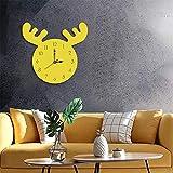 SAHUD Relojes La Creatividad de la Personalidad Simple Cabeza de los Ciervos del patrón Decorativo de la Sala de Estar Creativo Reloj de Pared, Conveniente for el hogar Oficina ect (Color : Yellow)