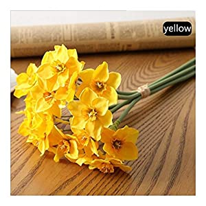 XDRE Artificial Flower 6pcs/lot Artificial Simulation Narcissus Flower Wedding Scene Decor Daffodil Home Room Window Decoration Fake Flowers Artificial (Color : Yellow)