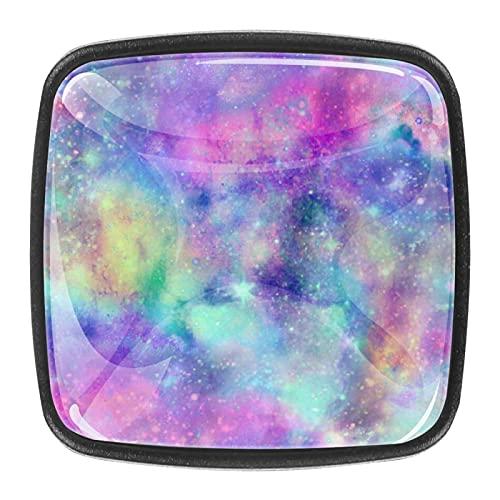 Manijas de cajón con diseño de cielo estrellado colorido con tiradores de cajón para gabinetes de cocina, armarios, estanterías, cajoneras, 4 unidades