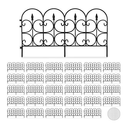 Relaxdays Set de 30 Vallas Decorativas para jardín, Altura de 30cm, Longitud de 20m, Negro