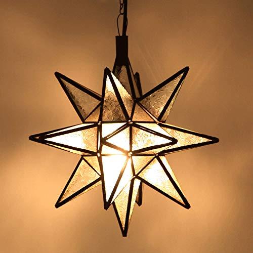 Orientalische Lampe marokkanische Hängelampe Nasima Weiss XL Höhe 52 cm aus Metall & Relief-Glas | Kunsthandwerk aus Marrakesch | Ein Leucht-Stern wie aus 1001 Nacht | L1808