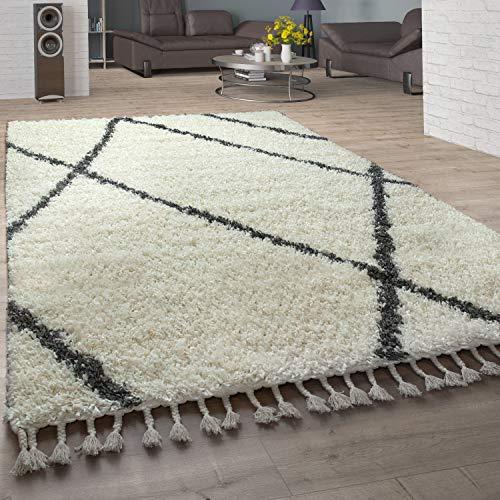 Paco Home Shaggy Teppich Wohnzimmer Hochflor Rauten Muster Skandi Design, Grösse:140x200 cm, Farbe:Creme
